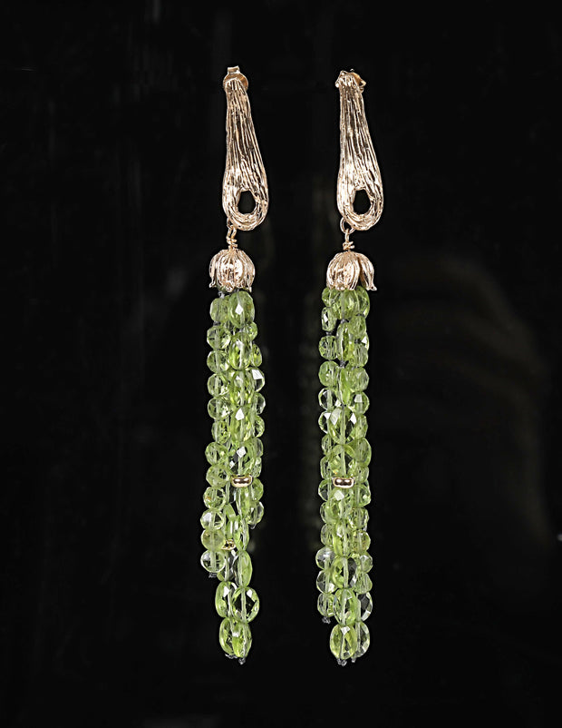White Orchid Studio: Chandelier Earrings-Gold Vanilla Beans Suspend Peridot
