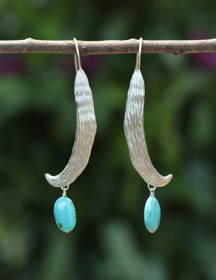 Blue Breezes: Vanilla Bean Dangle Earrings-Silver and Turquoise