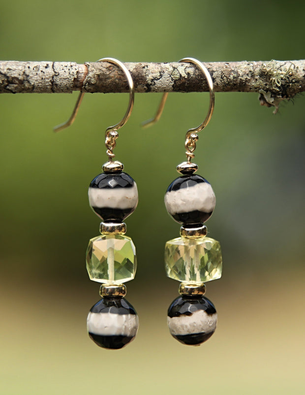 Beautiful Stripes 1: Drop Earrings-Lemon Quartz Banded Agate Gold
