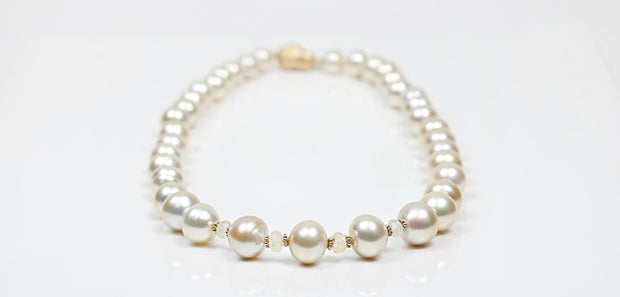 Fire and Ice: Matinee Necklace-Golden South Sea Pearls Sapphires Gold