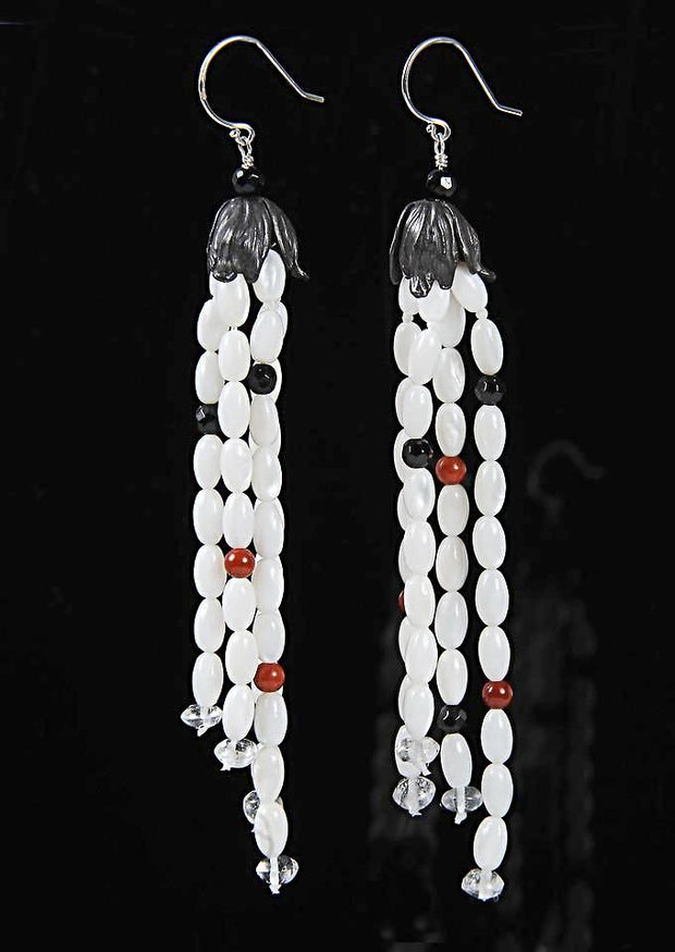 France Beckons: Tassel Earring-Mother of Pearl Onyz Jasper Clear Quartz Silver