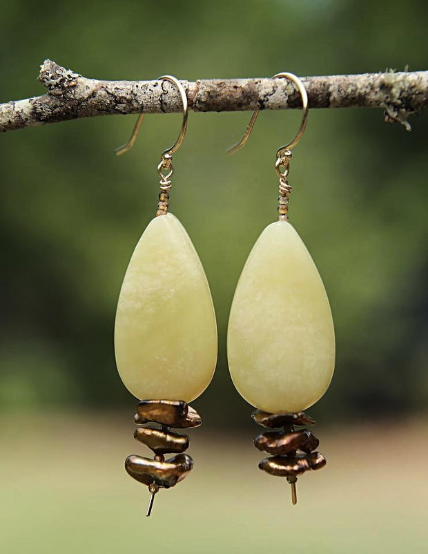 Glistening Moss: Dangle Earrings-Jade Pearls Gold