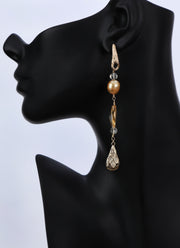 Glorious Life: Dangle Earring-South Sea Pearls Citrine Textured Gold