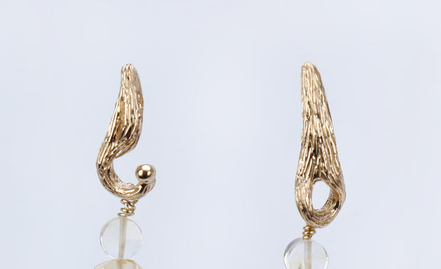 Glorious Life: Dangle Earrings-South Sea Pearls Citrine Textured Gold