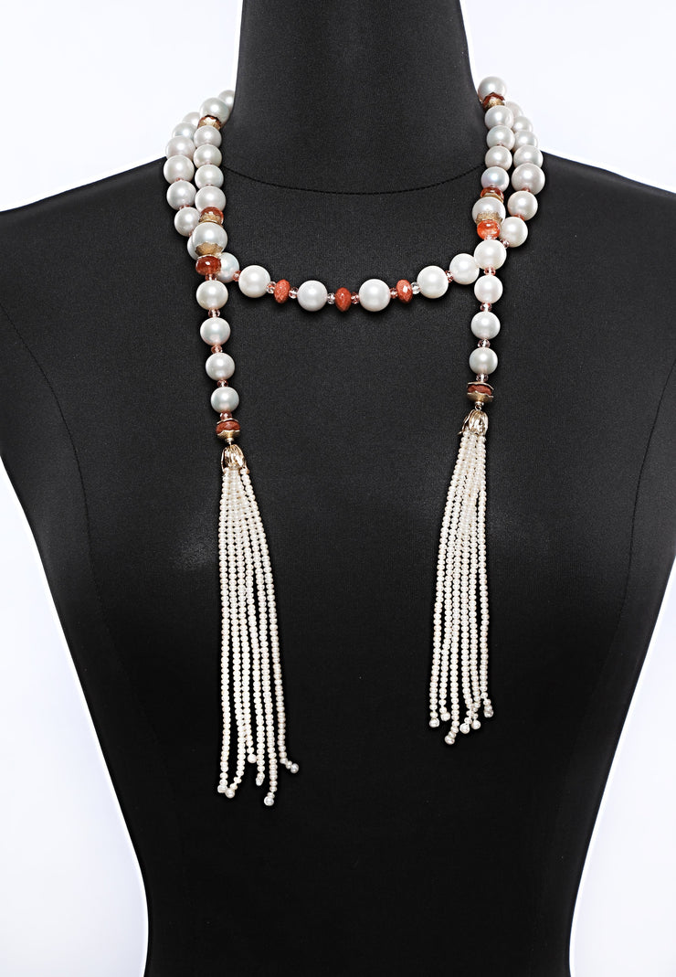 Golden Light: Tassel Sautoir Necklace-Pearls Sunstone Goldstone Gold