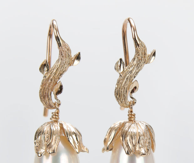 Gold Buds: Drop Earrings-A Textured Gold Leaf and Cap Embrace Pearls