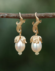 Gold Buds: Drop Earrings-Artisan Gold Leaves and Bead Cap Embrace Pearls