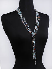 My Whimsy: Lariat of Silver and Sapphire-A Riot of Gems Dance Across 3-Strands