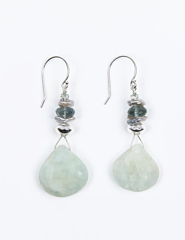 White Orchid Studios | Made in the USA | Handcrafted couture jewelry inspired by nature. |  Large, opaque faceted aquamarine tear drops anchor these earrings of silver Keshi, Champagne songia sapphire, and faceted moss aquamarine rondelle set with sterling silver saucer beads on sterling ear wires. $90