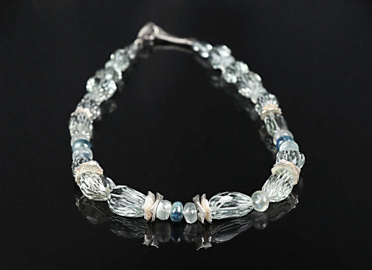 Icy Teal Sky: Princess Necklace-Prasiolite Kyanite Ceylon Moonstone Silver