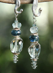 Icy Teal Sky: Dangle Earrings-Prasiolite Kyanite Moonstone Silver