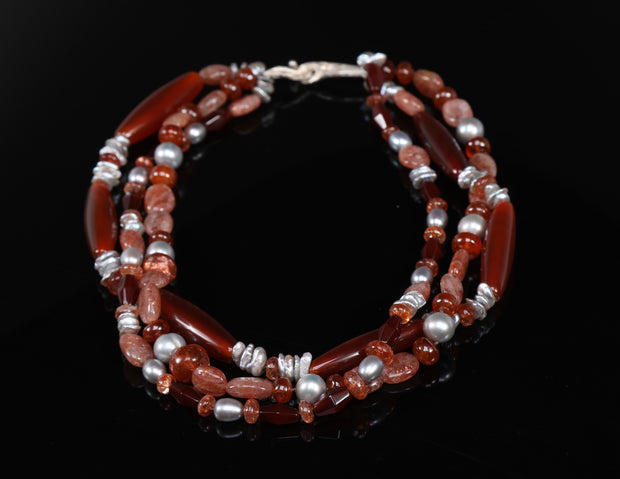 Inspire: Princess Necklace-Three Strands Carnelian Sunstone Pearls Silver