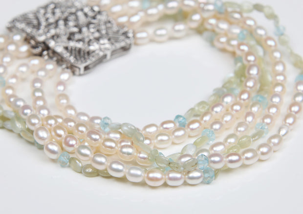 It's OK Victoria: Six-Strand Bracelet-Pearl Diamonds White Gold
