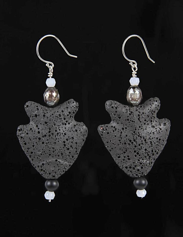 Jumping Fish: Drop Earrings-Carved Black Lava Chalcedony Pearls Onyx Silver