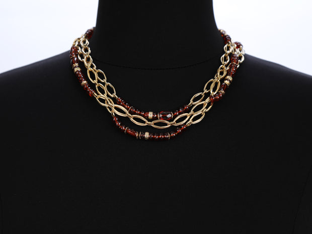 Knock Your Socks Off: Three-Strand Princess Necklace-Gold Garnet Diamonds