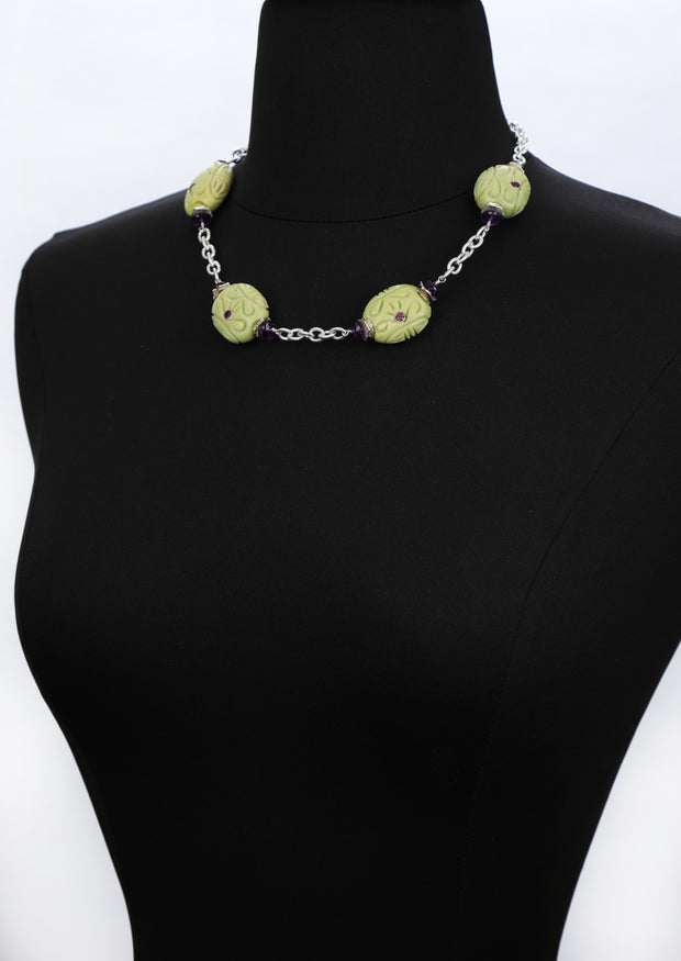 Mojave Grapes 1: Princess Necklace-Turquoise Garnet Amethyst Silver