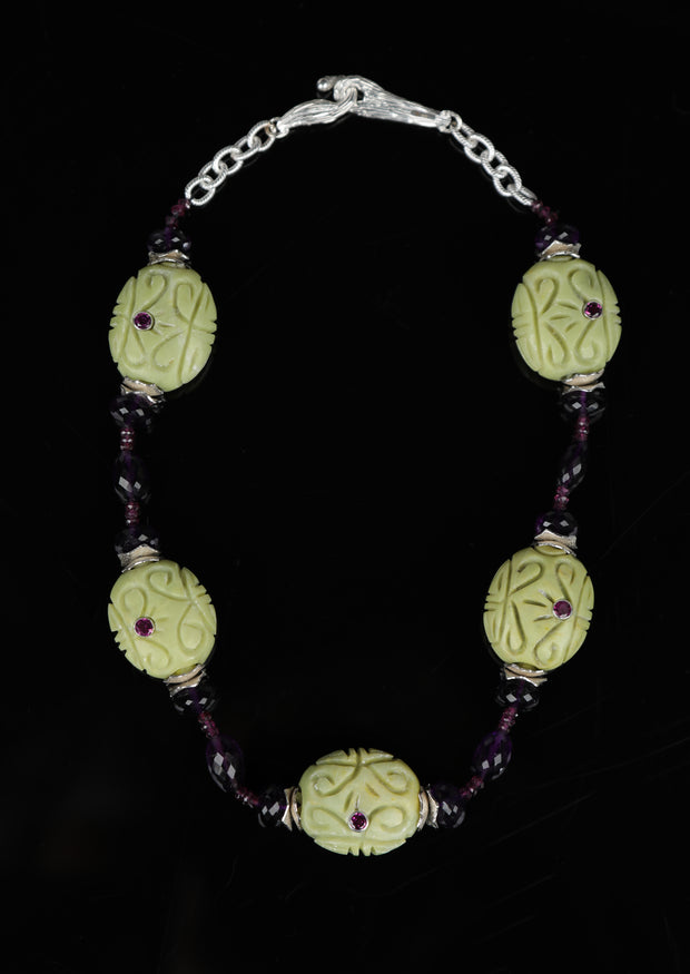 Mojave Grapes 2: Princess Necklace-Turquoise Garnet Amethyst Silver