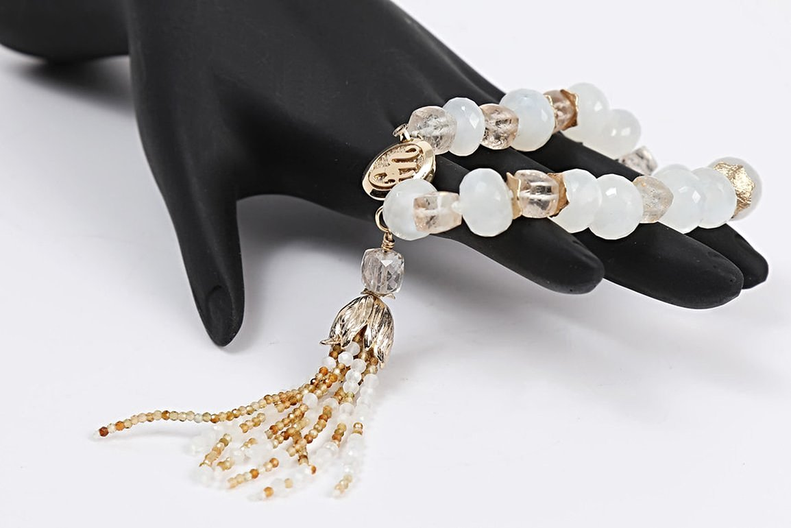 Moonglow:  A Tassel Bracelet of Precious Topaz, Moonstone and Gold