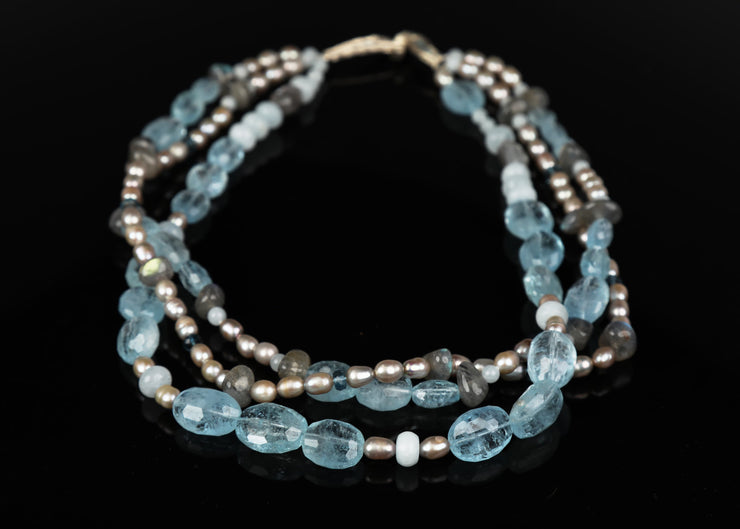 Dancing Waves: Three-Strand Princess Necklace-Aqua Topaz Labradorite Pearls Gold