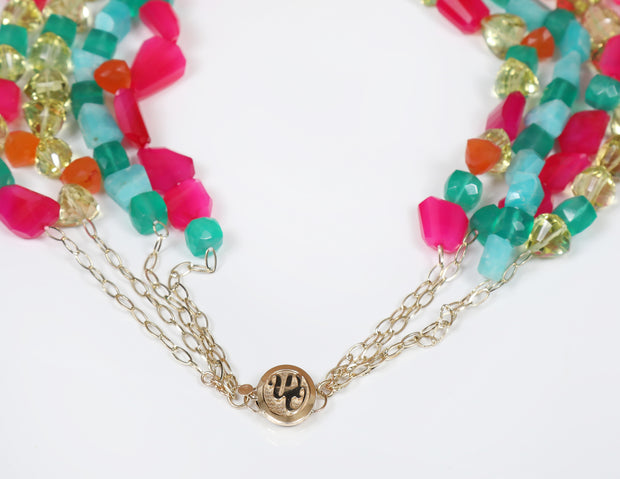 Loving Lilly: Four-Strand Princess Necklace-Carnelian Amazonite Chalcedony Quartz