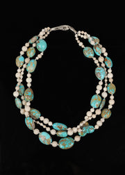 Sky Mountain: Three-Strand Princess Necklace-Opals Jasper Pearls Gold