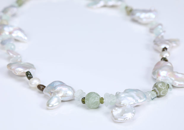 On the Beach: Princess Necklace-Pearls Tourmaline Jade Fluorite Silver