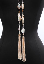 Pearls Among Friends: Tasseled Sautoir-Keshi Pearls Amethyst Sunstone Moonstone
