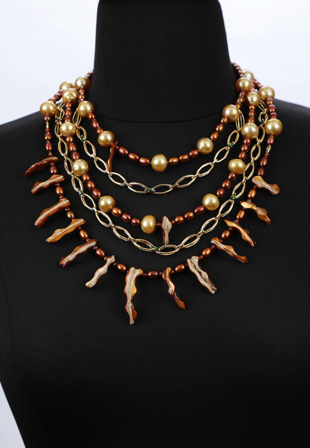Possessed: Five-Strand Bib-Pearls Italian Gold Spessartite Tourmaline