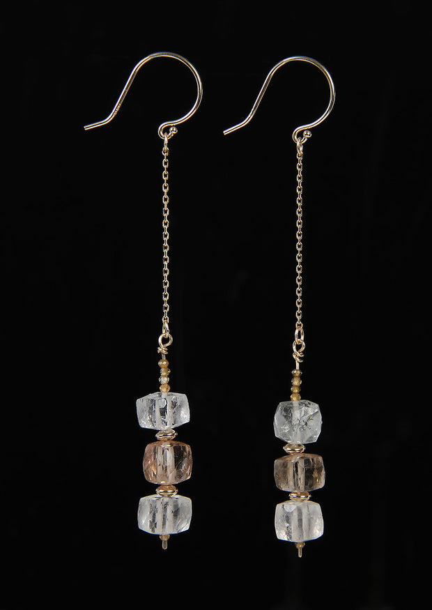 Precious Matches: Dangle Earrings-Precious Topaz Champagne Zircon Gold