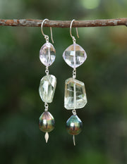 Rainbows and Lollipops 1: Shoulder Duster Earring- Pearl Prasiolite Amethyst Silver