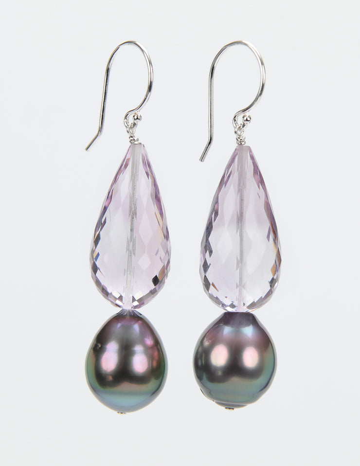 Rainbows and Lollipops 2: Dangle Earring-Light Amethyst Pearl Silver