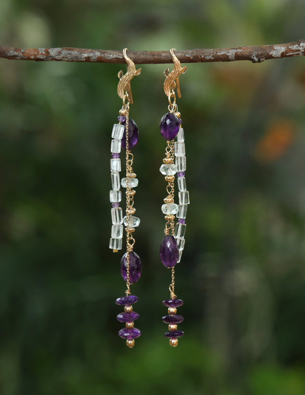 Royalty: Shoulder Duster Earrings-Aqua, Amethyst, Artisan Created Gold Ear Wires