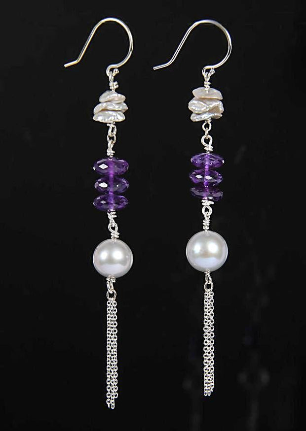 Royalty 3: Shoulder Duster Earrings-Pearls Amethyst Silver