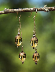 Scotch or Rum? Dangle Earrings: Golden Quartz Gold