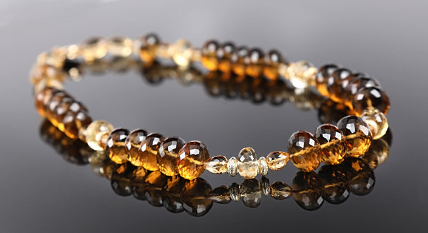 Scotch or Rum? Princess Necklace-Whiskey Quartz Citrine Gold