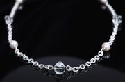 Silver Moon: Opera Length Necklace-Silver Chain Pearls Crystal Quartz
