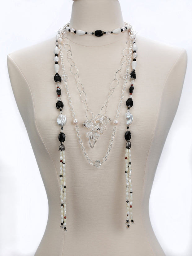 France Beckons: Sautoir Necklace with Tassels-Pearls Onyx Quartz Agate Silver