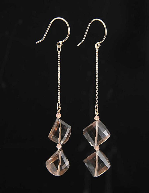 Smoky: Dangle Earrings-Whiskey Quartz Moonstone Gold