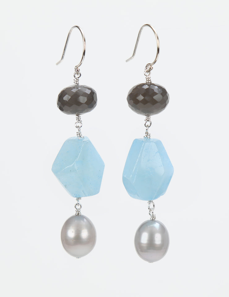 Soothing: Dangle Earring-Silver Pearl Aqua Moonstone Silver