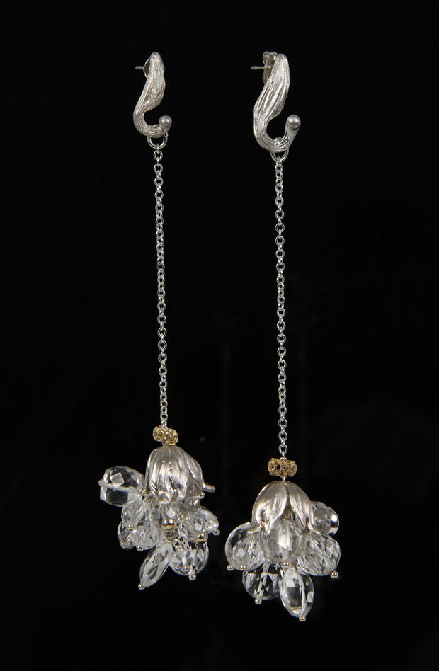 Sparkle & Jazz 1: Shoulder Duster Earring-Vanilla Beans Swing Crystals Silver Gold