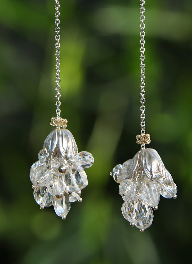 Sparkle and Jazz: Dangle Earrings-Sterling Silver Vanilla Beans Swing Gold and Crystals