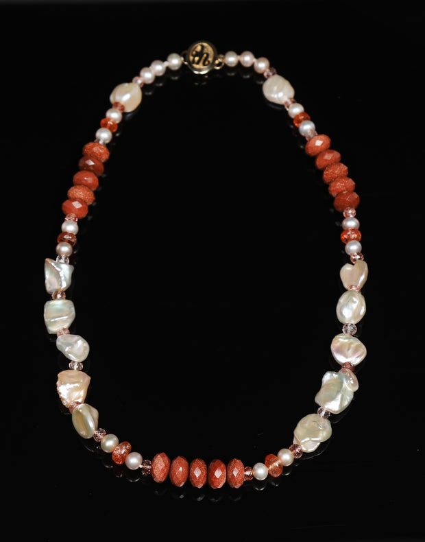 Strawberry Stars: Princess Necklace-Pearl Sunstone Goldstone Gold