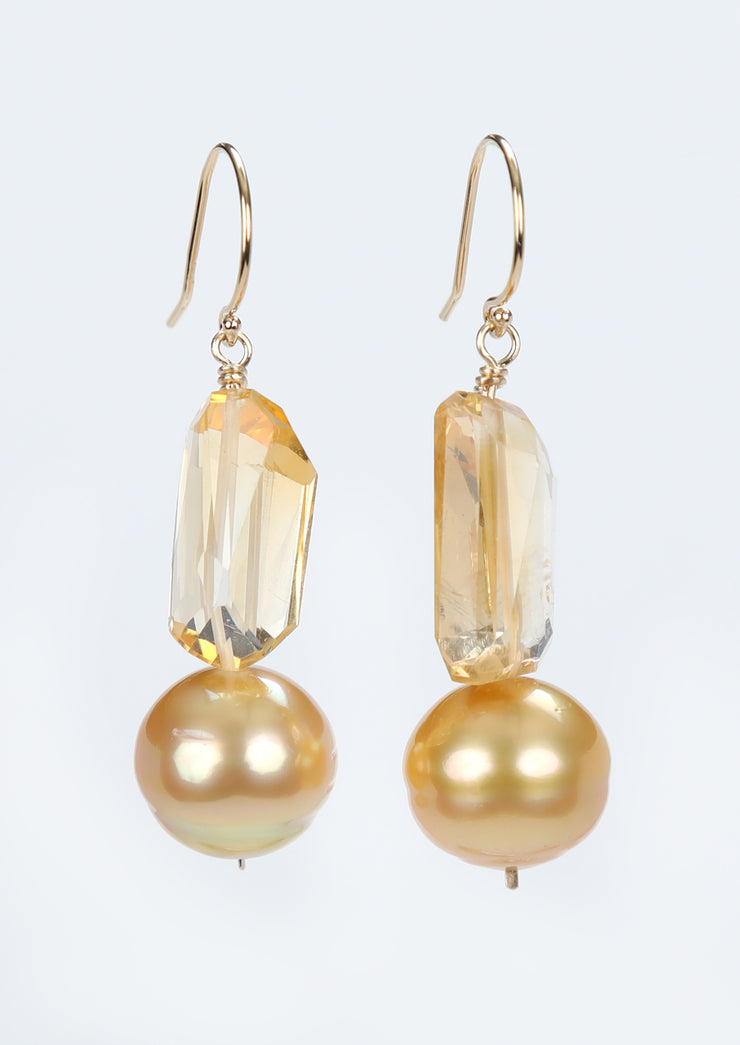 Sunshiny Day: Drop Earring Pearls Citrine Gold