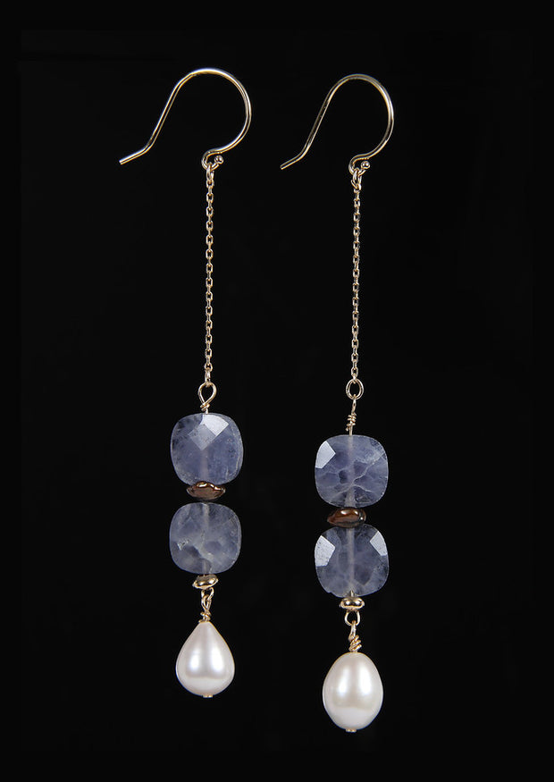 Sweet Dawn-Shoulder Duster Earrings-Pearl Iolite Gold