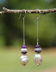 Wine and Roses: Dangle Earrings-Pearl Amethyst Silver