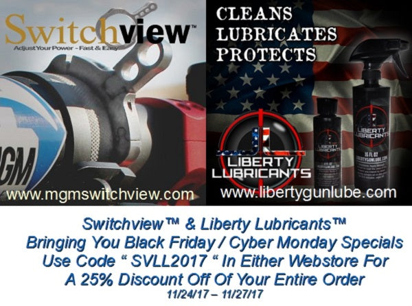 Liberty Gun Lube and Switchview USA team up to bring you savings!