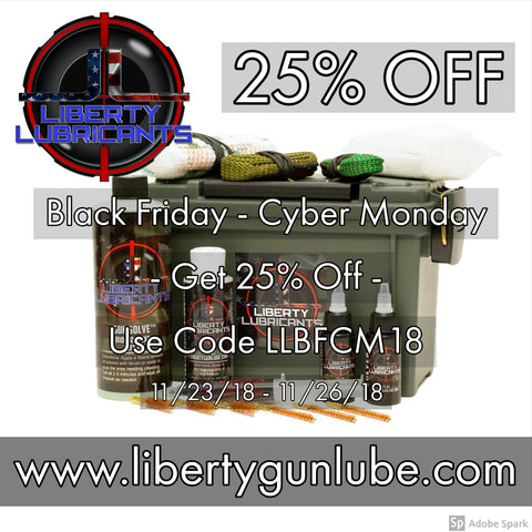 Black Friday Cyber Monday sale at Liberty Gun Lubricants