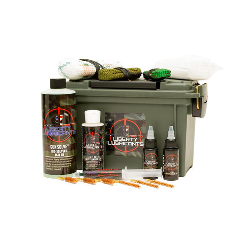 Gun cleaning kit. Everything needed for cleaning and lubrication 9mm, 5.56mm and 12G pistols, rifles and shotguns.