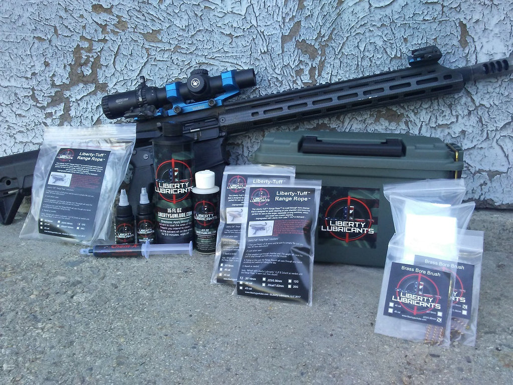AR15 rifle, pictured with gun cleaning kit. Everything needed to maintain firearm