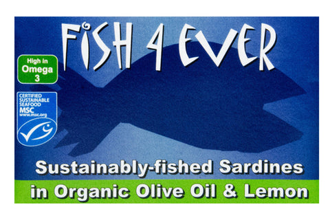 Sustainably-fished Sardines in Organic Olive Oil & Lemon 120g - Fish 4 Ever